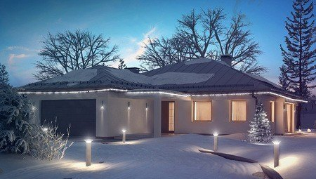 Проект одноэтажного дома с большим гаражом для 2х автомобилей