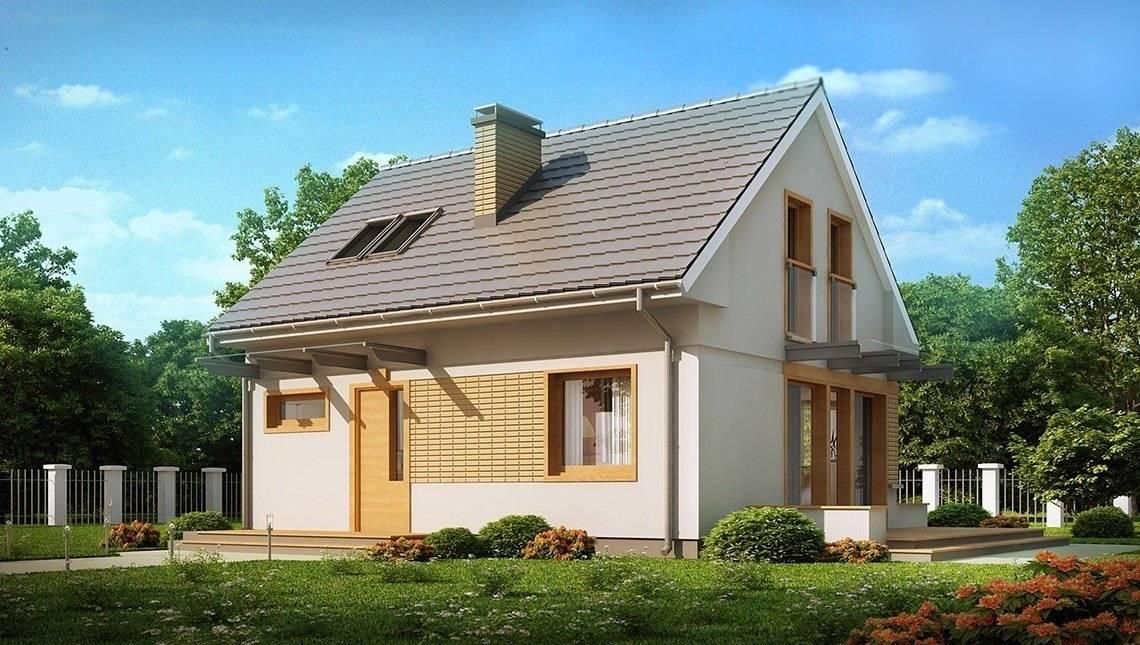 Проект небольшого одноэтажного дома с мансардой с двускатной крышей