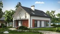 Проект практичного дома с необычной мансардой и кирпичным фасадом