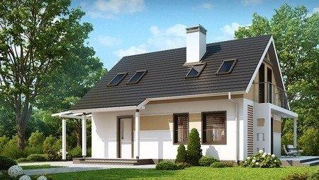 Проект экономичного недорогого дома с навесом для одного автомобиля