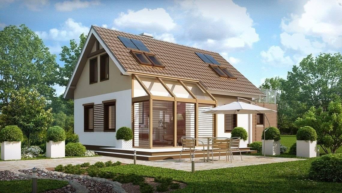 Проект дома с мансардой, гаражом и уютной красивой террасой