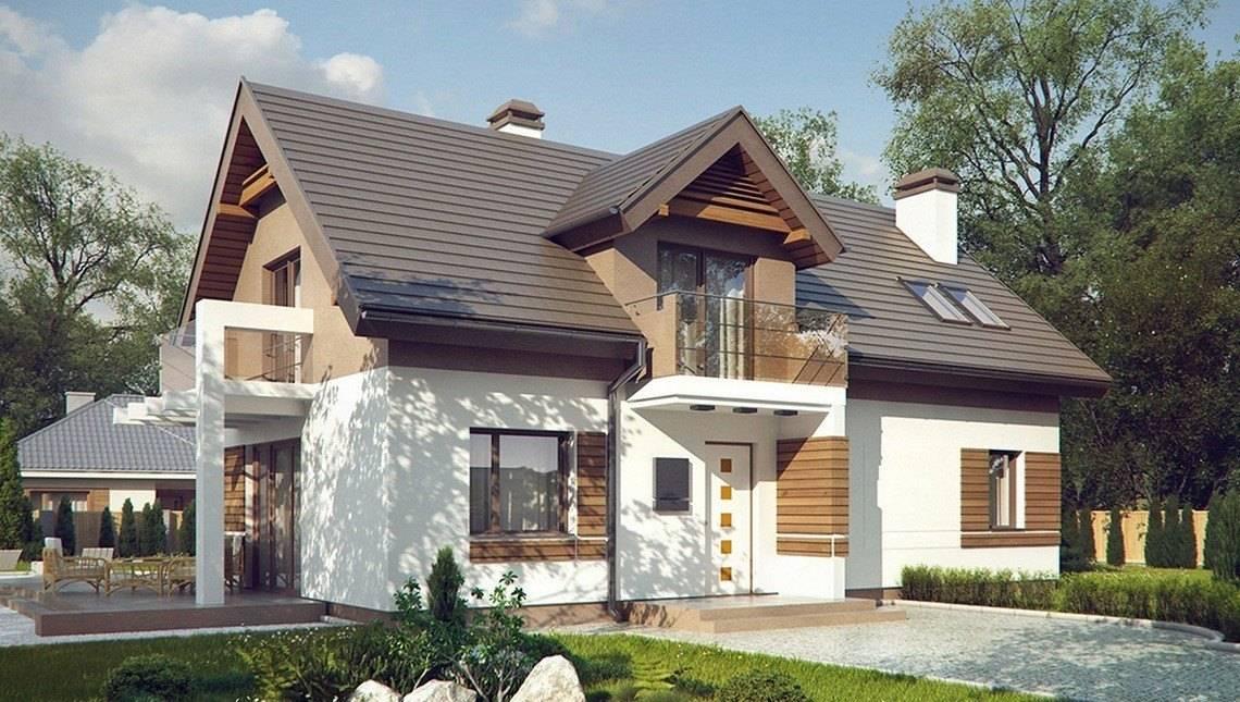 Проект уютного красивого дома с мансардой и оригинальным фасадом