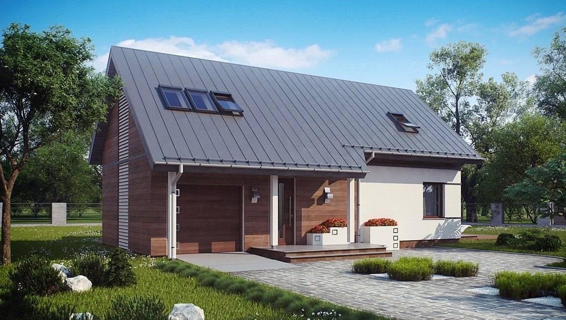 Проект стильного одноэтажного дома с мансардой и большим фронтальным окном