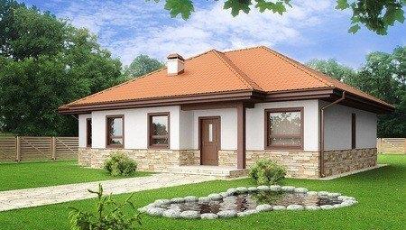 Проект 1 этажного дома с многоскатной крышей