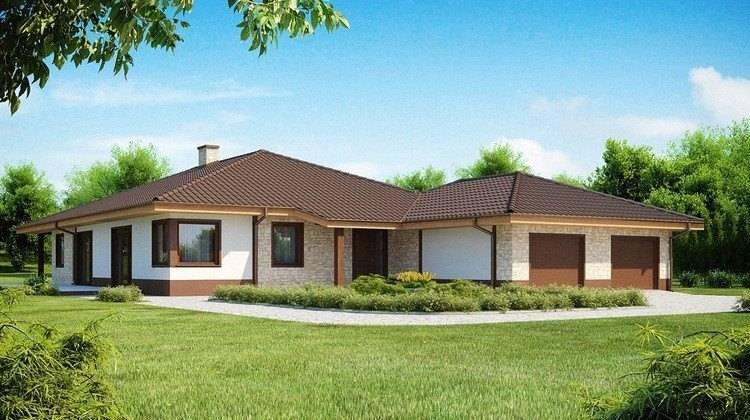 Проект одноэтажного дома для узкого участка с большим гаражом