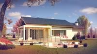 Проект комфортного классического одноэтажного коттеджа с гаражом