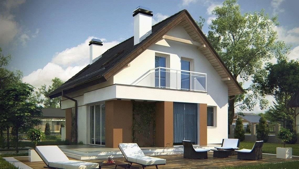 Проект небольшого аккуратного дачного коттеджа с мансардой и двускатной крышей