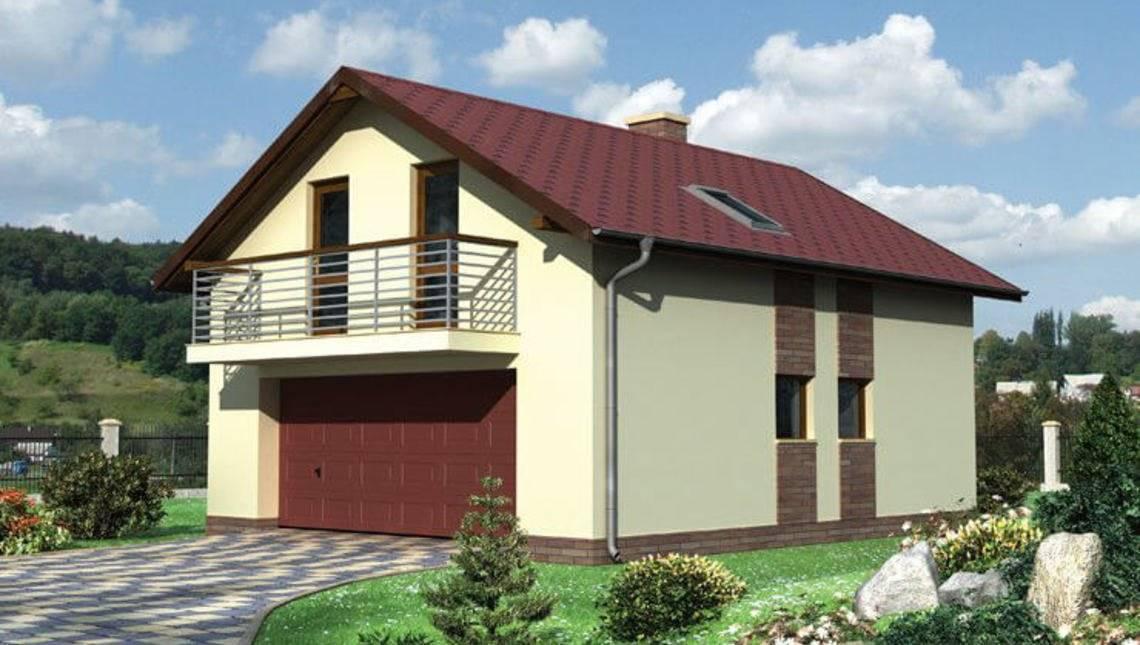 Архитектурный проект одноэтажного здания с гаражом и балконом