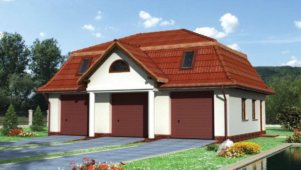 Проект гаражного здания на 3 парковочных места с чердаком