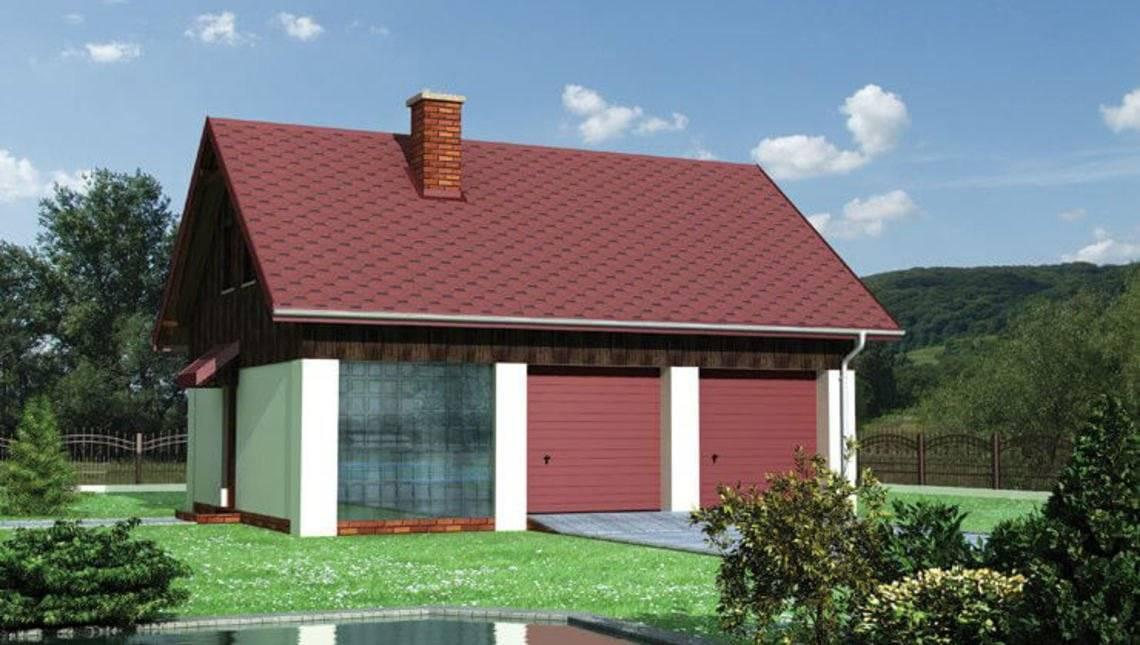 Готовый проект одноэтажного здания с гаражом на 2 машины