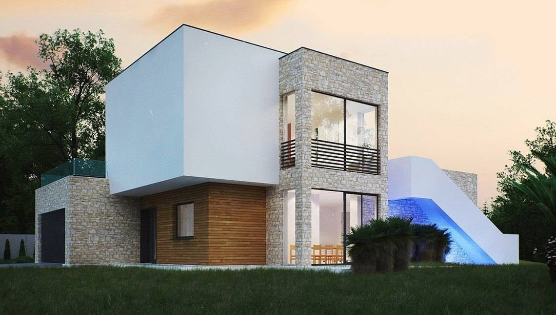 Небольшой дом для наклонного участка