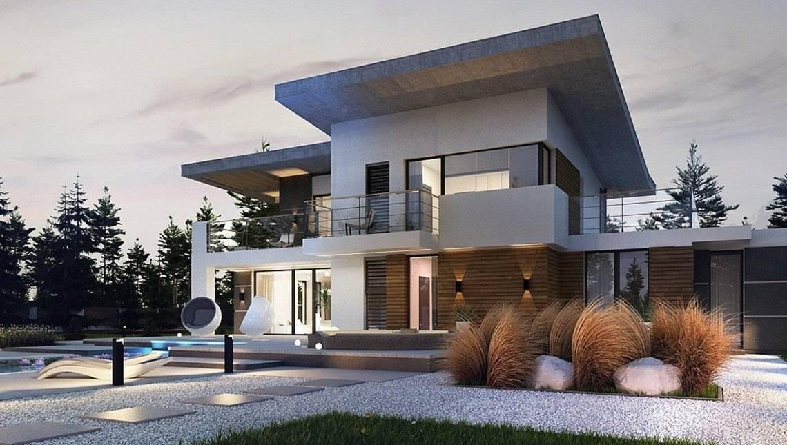 Современный двухэтажный дом с террасой на втором этаже