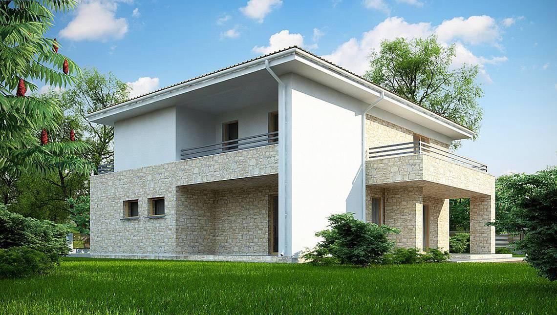 Привлекательный проект двухэтажного дома с гаражом на одну машину