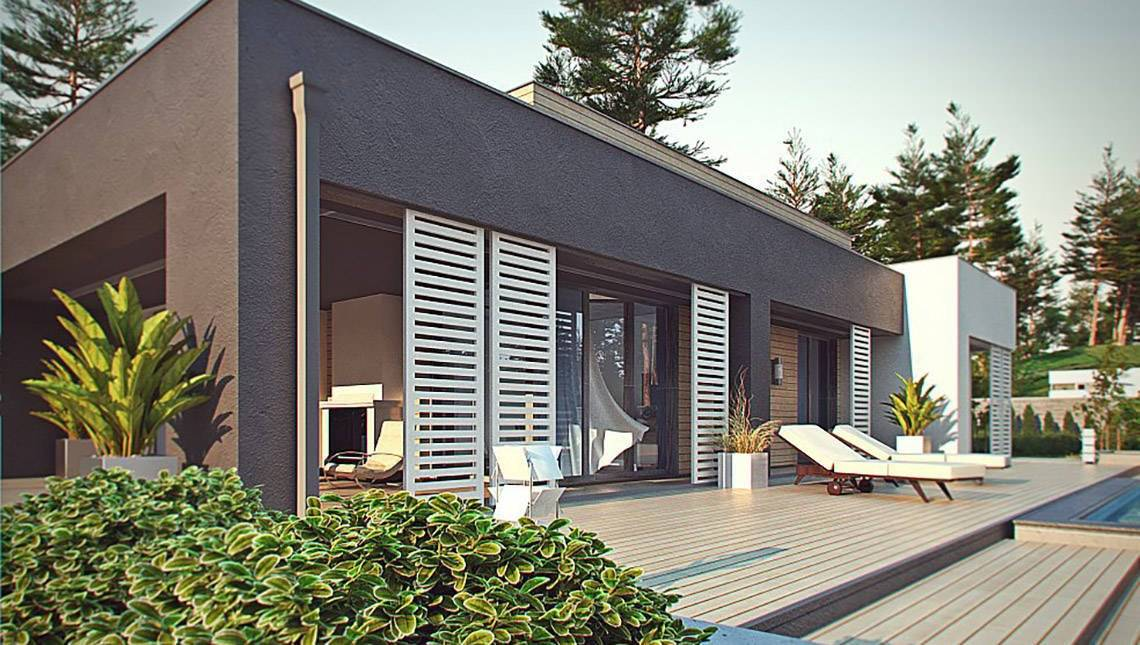 Одноэтажный модерновый коттедж для узкого участка