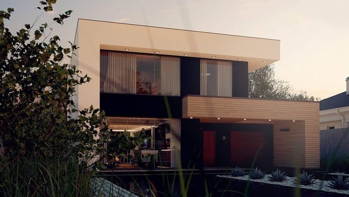Загородный двухэтажный коттедж с плоской кровлей