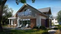 Проект классического коттеджа с гаражом и прекрасной мансардой