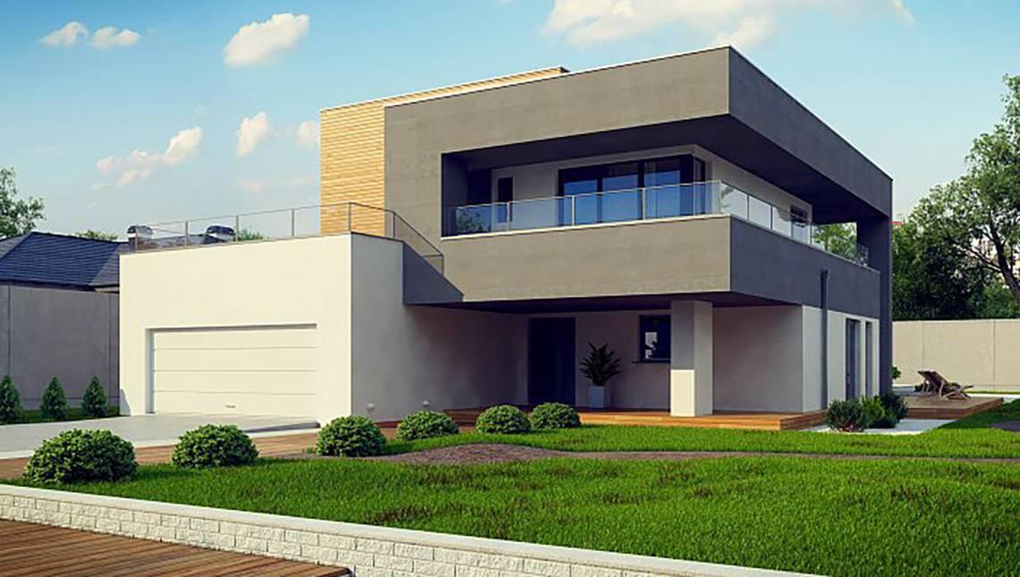 Современный двухэтажный дом с плоской кровлей с гаражом на две машины