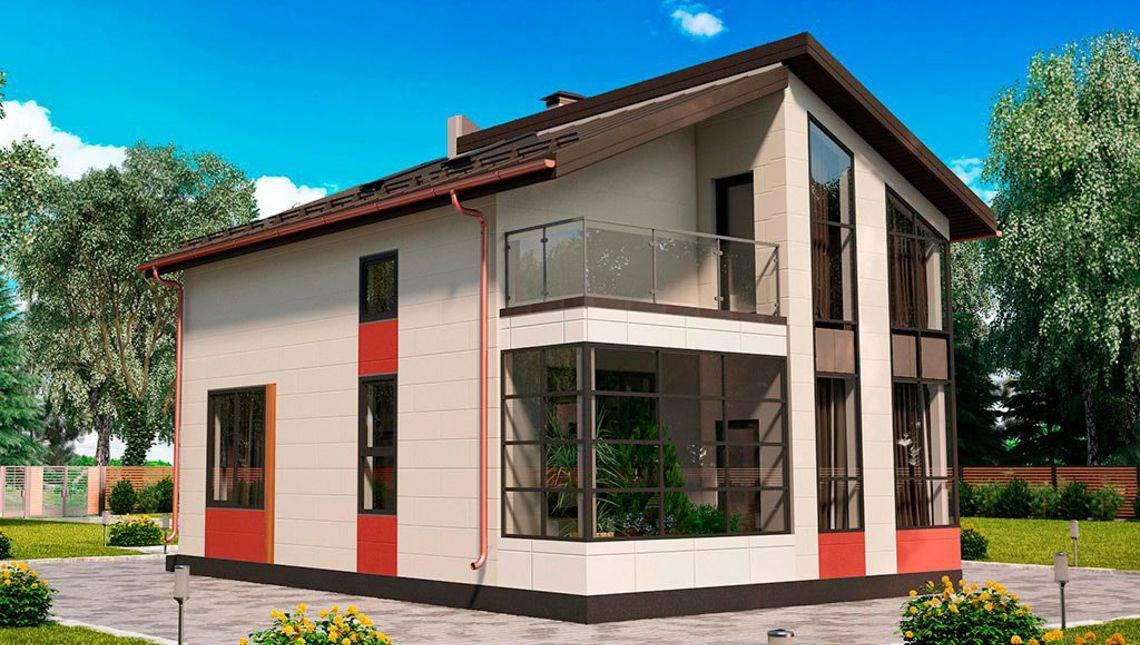 Компактный коттедж с большими окнами
