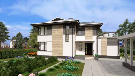 Загородный двухэтажный дом с просторными балконами