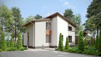 Двухэтажный стильный дом, декорированный кирпичом