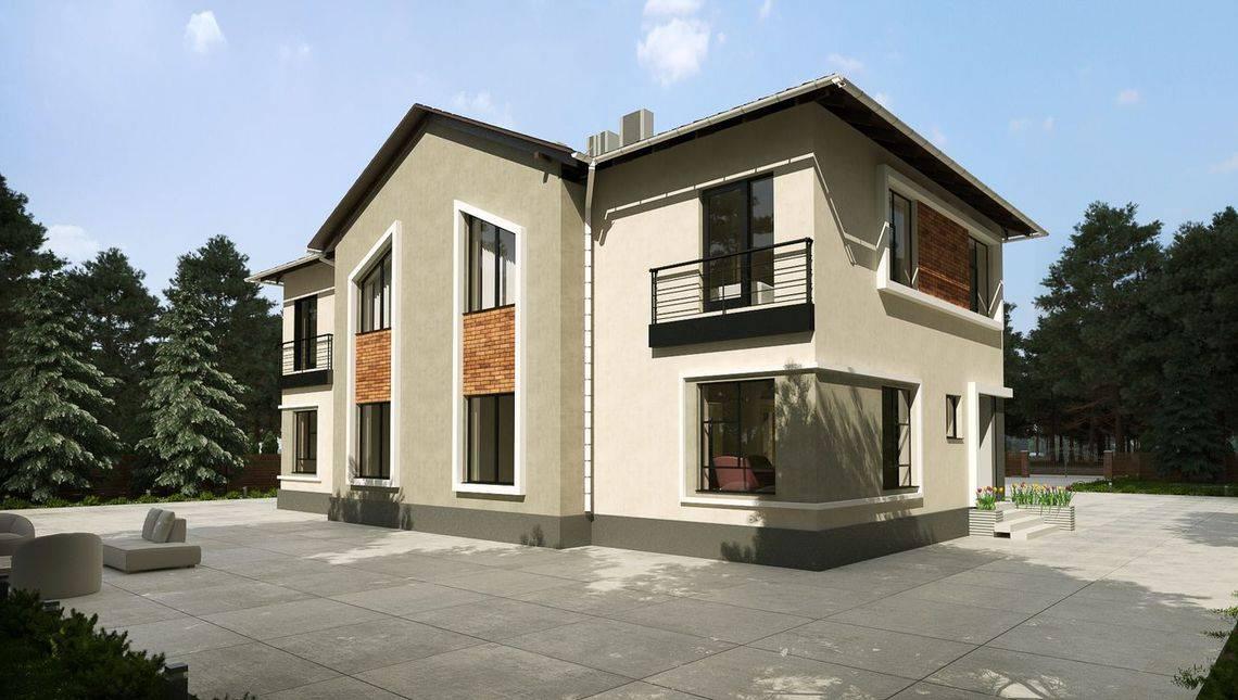 Двухэтажный дом с шикарным фасадом на три квартиры