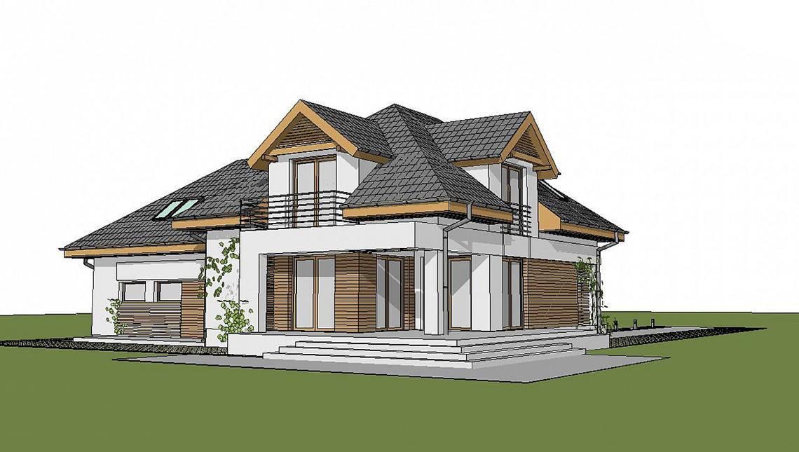 Проект дома с просторной мансардой и гаражом на 2 авто