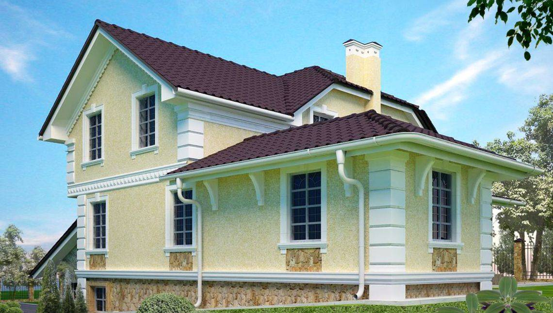 Архитектурный проект классического двухэтажного особняка для наклонного участка