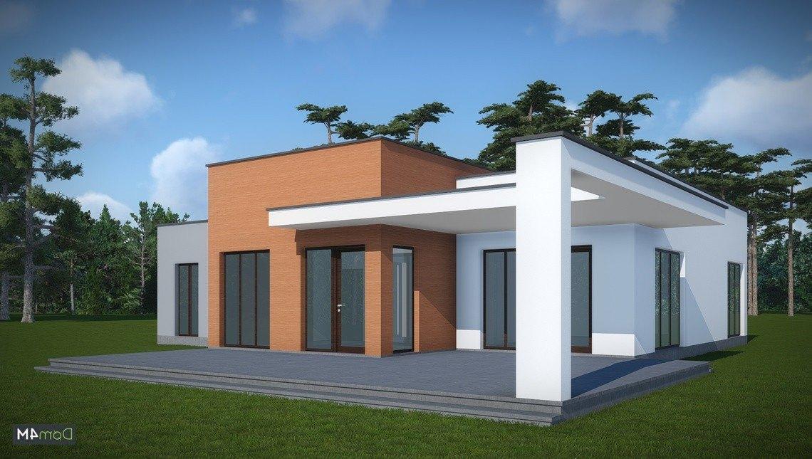 Архитектурный проект одноэтажного коттеджа с плоской крышей