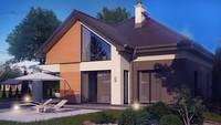 Проект коттеджа с многоскатной крышей и фронтальным гаражом