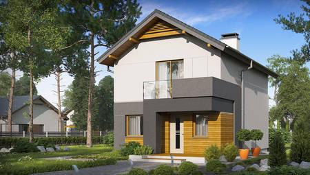 Проект двухэтажного коттеджа для узкого участка с 3-мя спальнями на 2-ом этаже