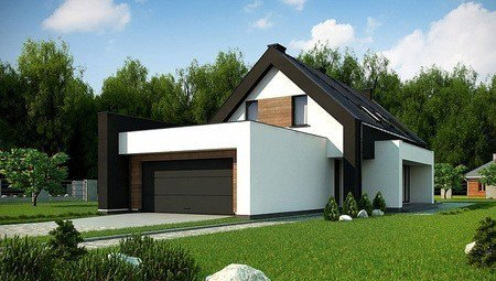 Стильный современный дом 210 m² для узкого участка