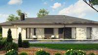 Одноэтажный дом для узкого участка