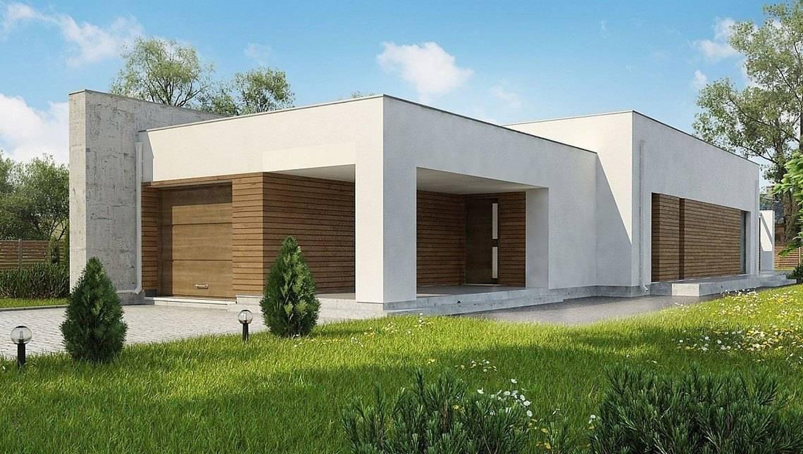 Одноэтажный дом в стиле кубизма для узкого участка