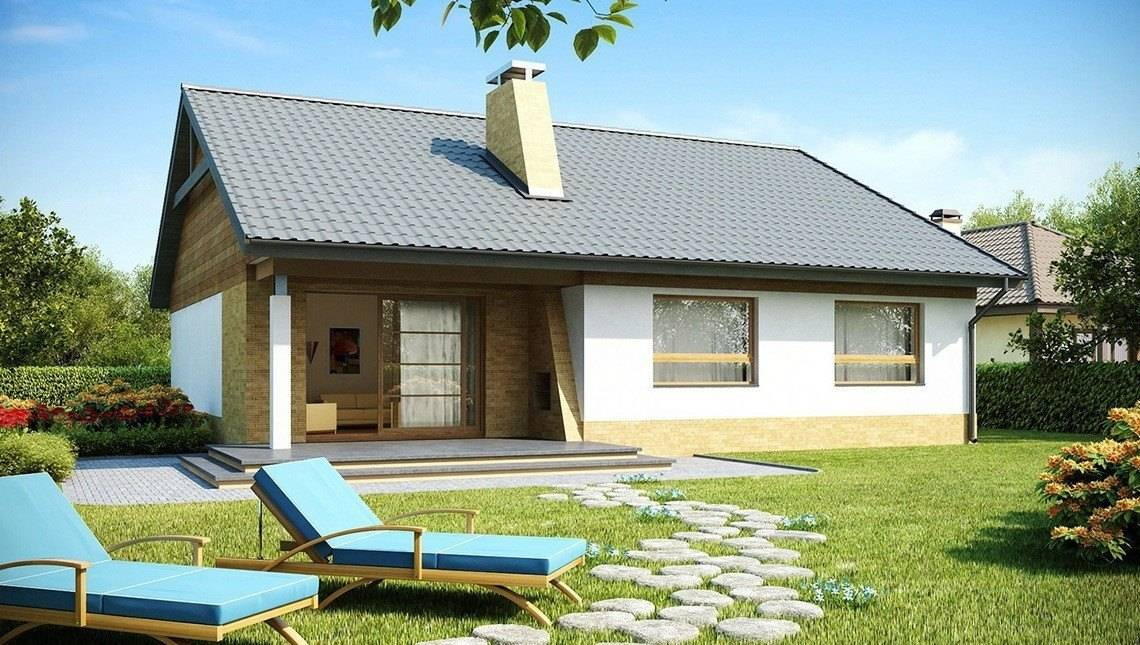Проект одноэтажного дома с тремя спальнями и двускатной крышей