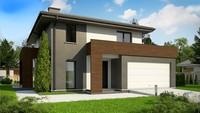 Двухэтажный дом с большими панорамными окнами и просторной террасой