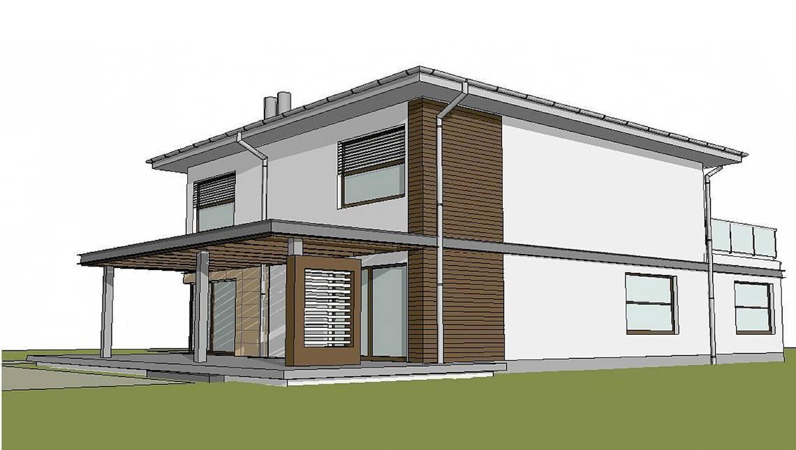 Стильный коттедж с просторной террасой над гаражом