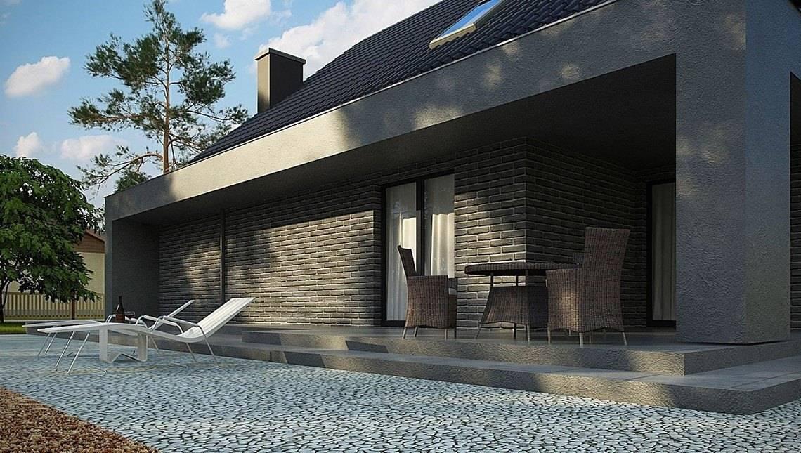 Интересный проект дома с большой террасой над гаражом
