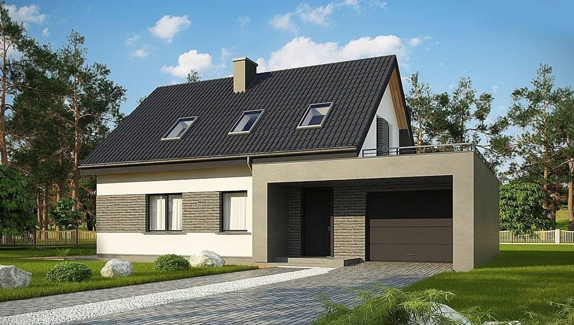 этим загородный дом с гаражом фото облицованы кирпичом, отдельные