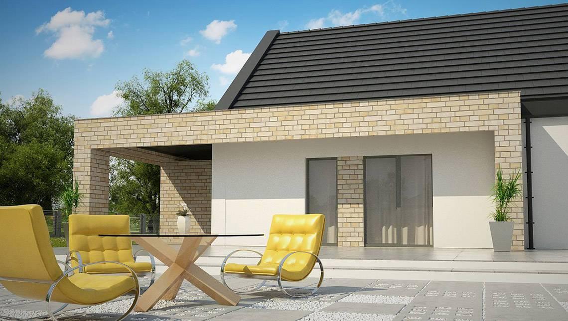 Проект одноэтажного классического коттеджа для узкого участка