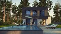 Современный компактный двухэтажный коттедж площадью 150 m²