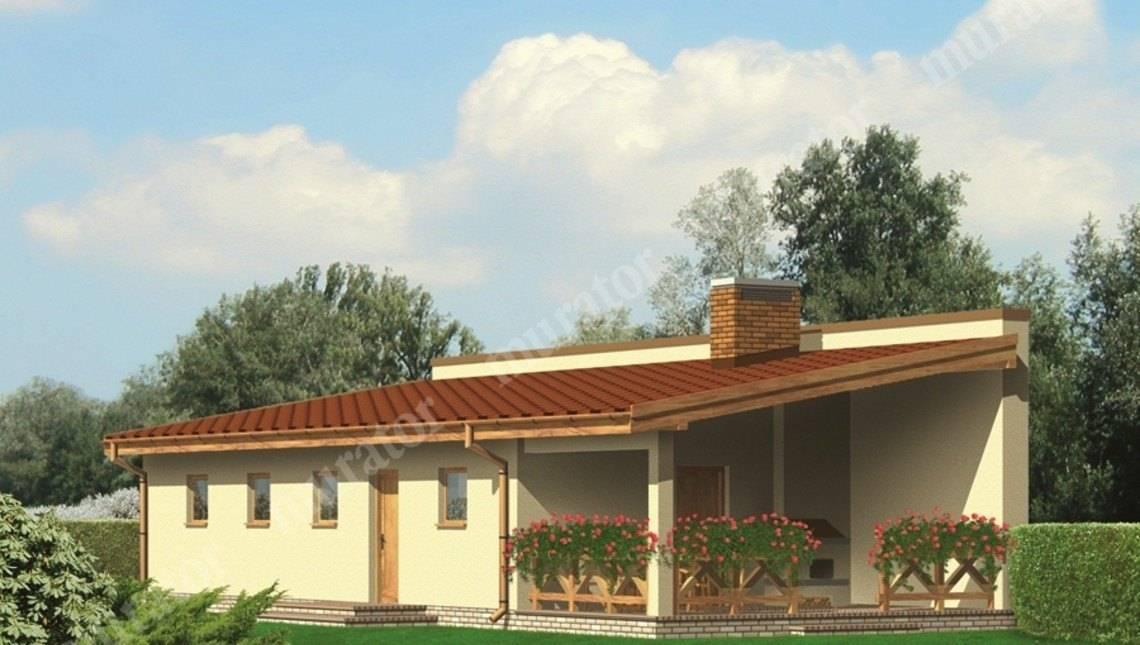 Проект одноэтажного жилого дома с гаражом на 2 авто