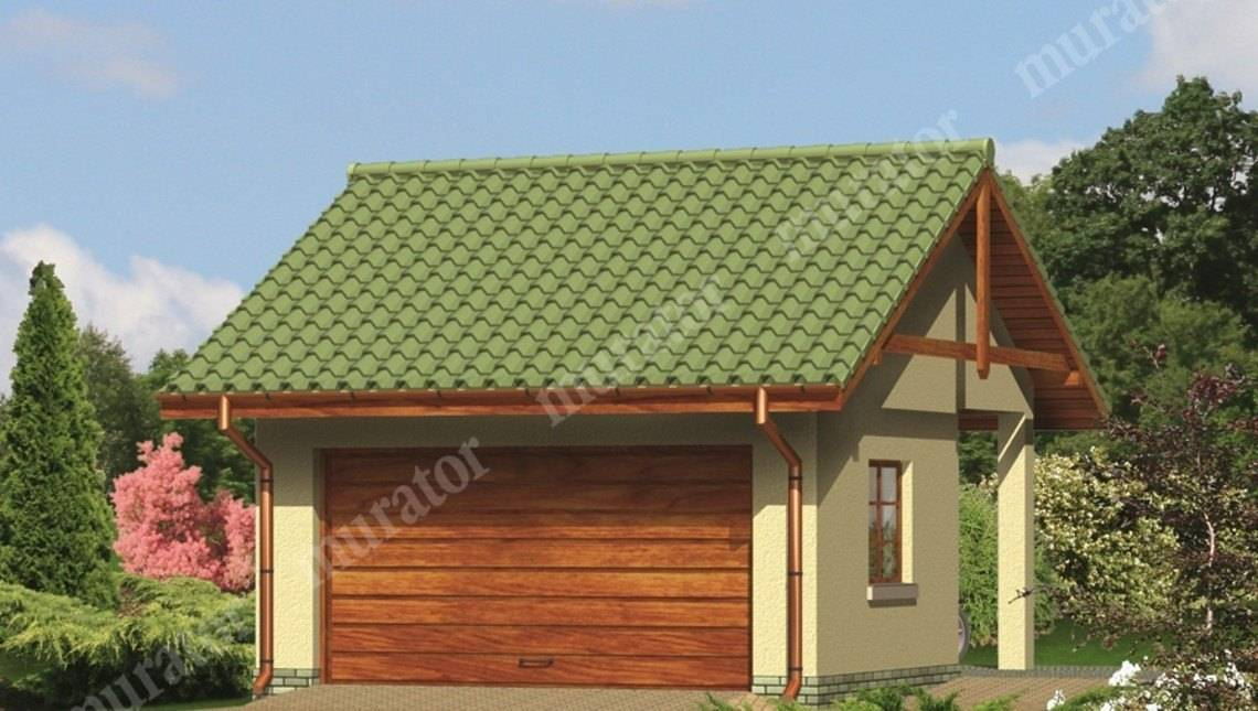 Проект просторного гаража с навесом