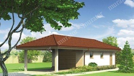 Проект гаража с навесом под четырехскатной крышей