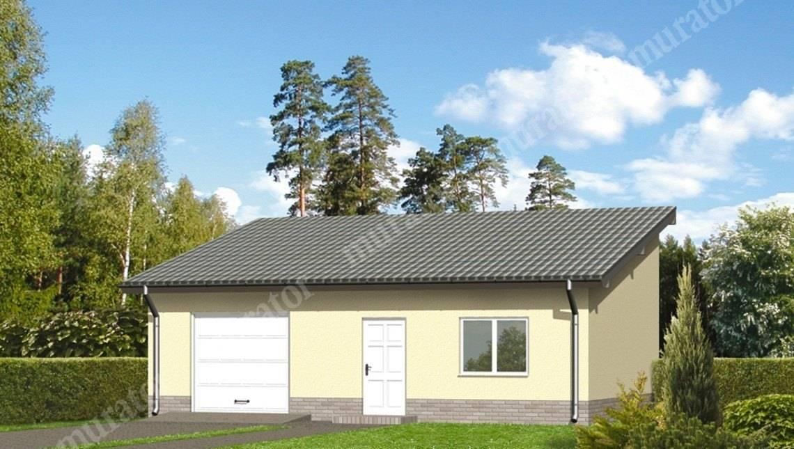 Проект гаража на 1 авто с односкатной крышей
