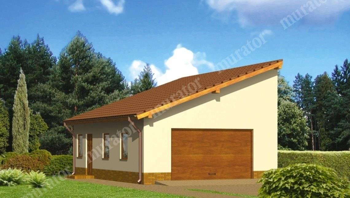 Проект просторного гаража под односкатной крышей