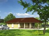 Проект гаража на 2 авто с навесом и дополнительными помещениями