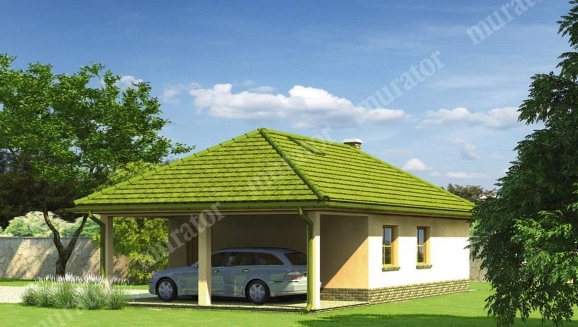 Проект гаража на 2 авто с навесом и террасой
