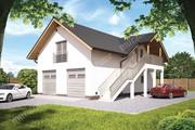 Проект гаража на 3 авто с жилыми помещениями на втором этаже