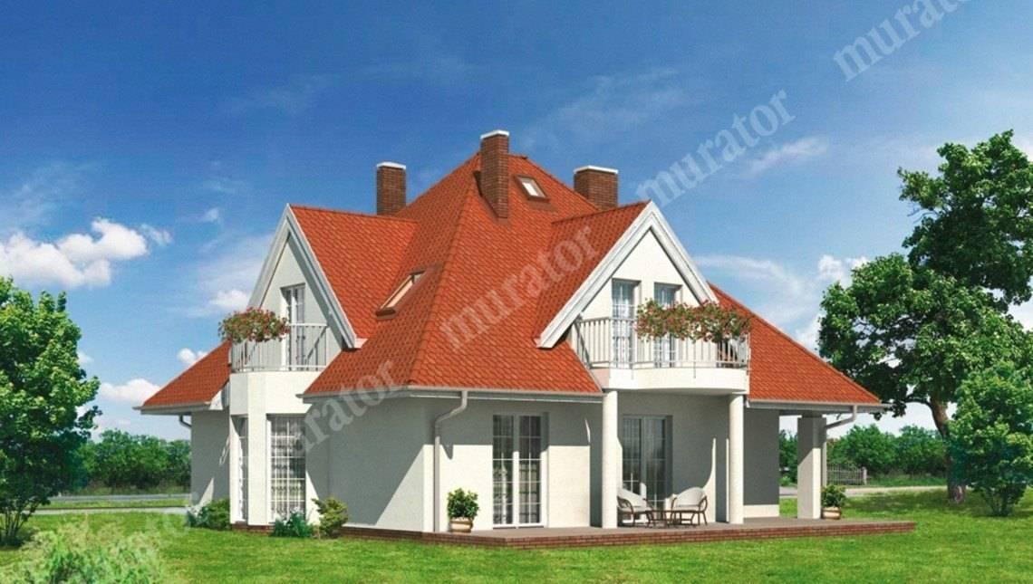 Проект красивого дома с 3 балконами