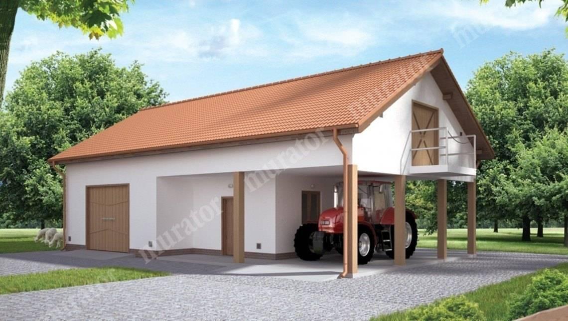 Проект гаража с большим навесом и мансардой